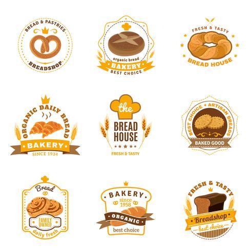 Pain boulangerie emblèmes plats Icons Set vecteur