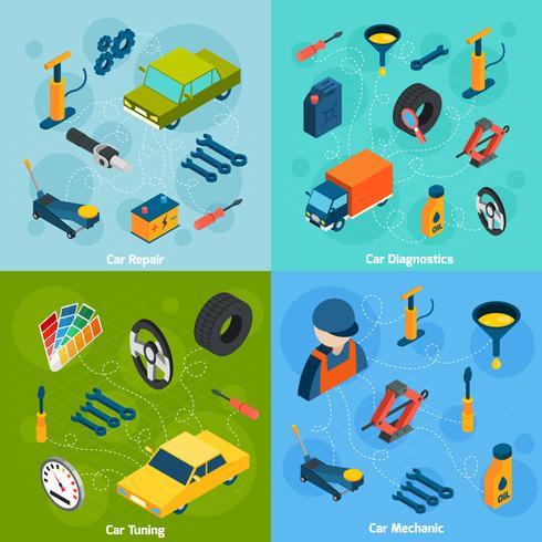 Bilreparation och tuning isometriska ikoner