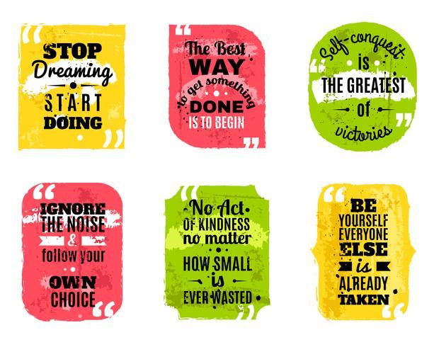 Frases famosas de colores conjunto de iconos con textura vector