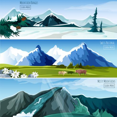 Banner Set Mountain Country Landscapes