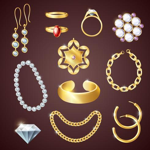 Conjunto realista de joyas vector