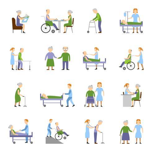 Conjunto de ícones de pessoas idosas de enfermagem