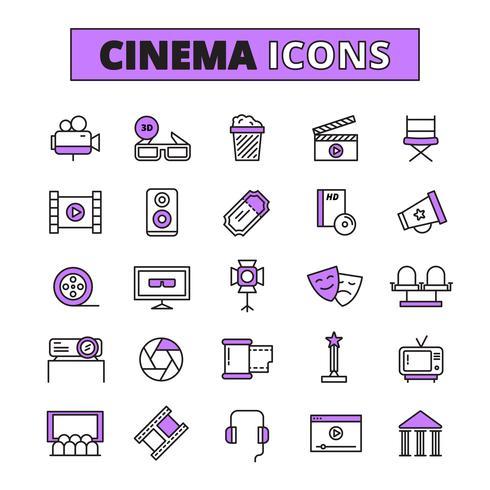 Símbolos de cine delineado conjunto de iconos vector