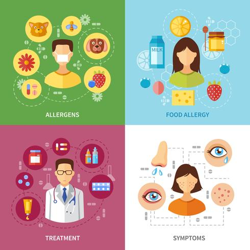 Various Allergy Types Symptoms vector