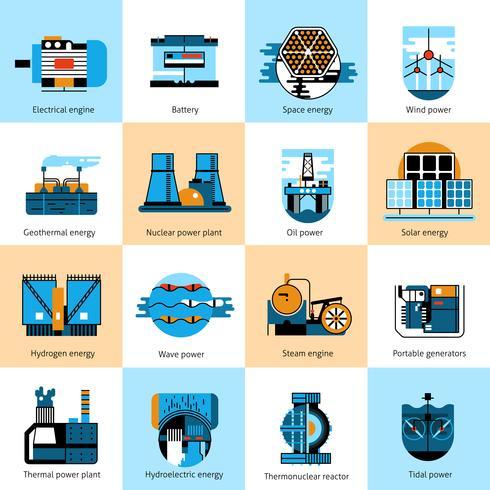 Conjunto de iconos de línea plana de producción de energía vector