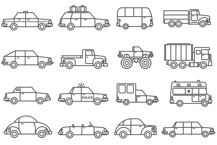 Conjunto de iconos de línea de coches vector