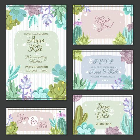 Conjunto de cartões de casamento de cacto