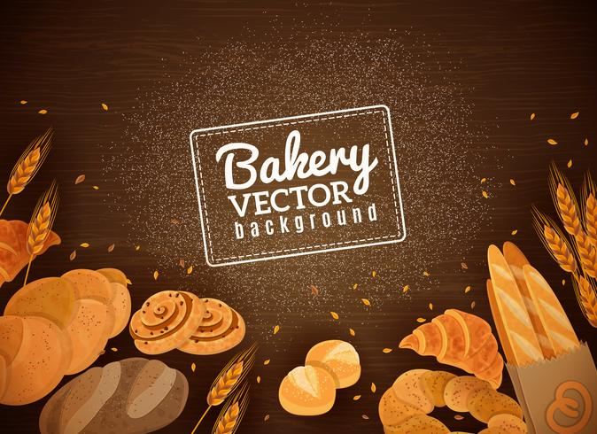 Backery Fresh Bread Dark Wood Background