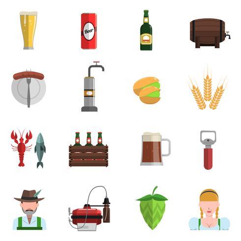 Conjunto de iconos de cerveza plana vector