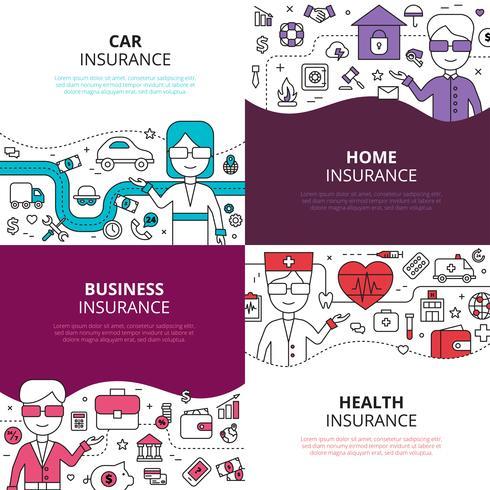 Lineares Designikonenquadrat der Versicherung 4
