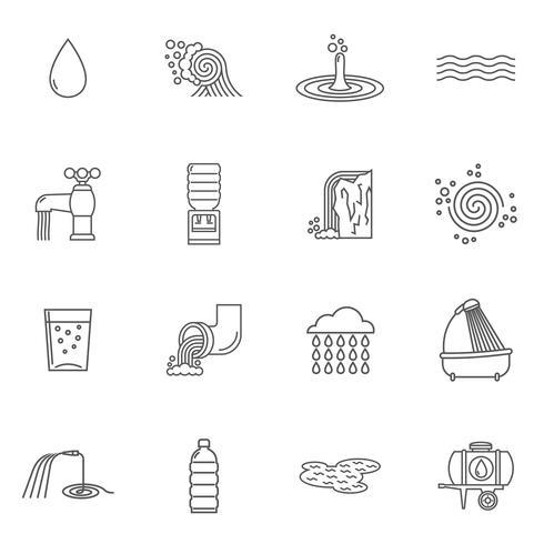 Ligne d'icônes de l'eau vecteur