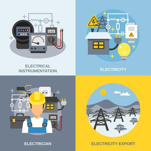 Conjunto de ícones de conceito de eletricidade
