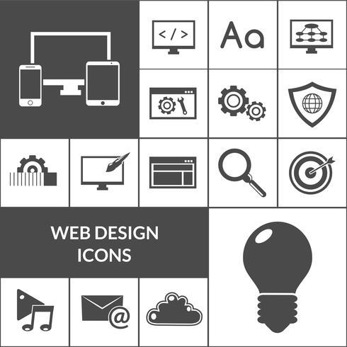 Conjunto de iconos de diseño web negro
