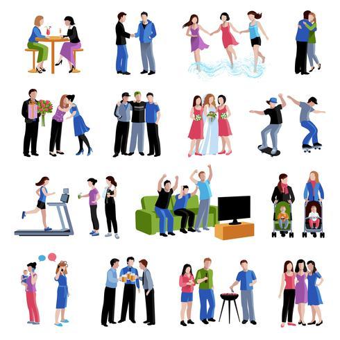 Vrienden vrienden activiteiten vlakke pictogrammen instellen