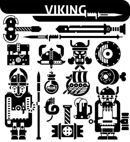 Viking Black White Ikoner Set