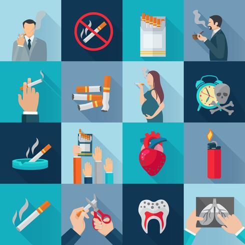 Rauchen flache Icons Set