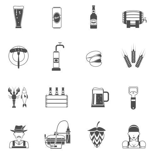 Ensemble d'icônes bière noir vecteur
