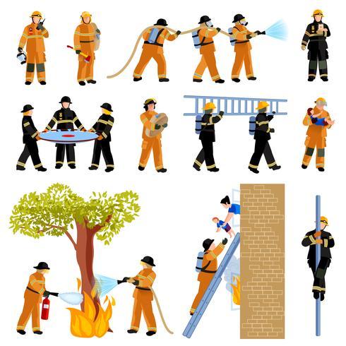 Conjunto de iconos de colores planos de personas bombero