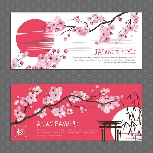Japan Sakura Horisontell Banderoller Set vektor