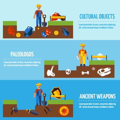 Set di banner di colore piatto archeologia