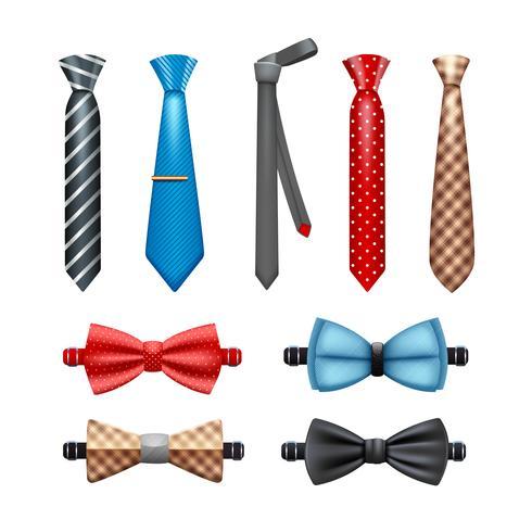 Conjunto de corbata y pajarita vector