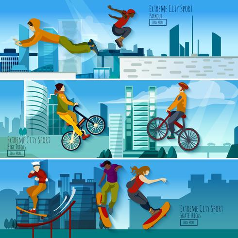 Extreme City Sport Flat Banners Set  vector