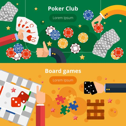 Gambling spel platt banners set