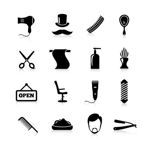 ensemble d'icônes de coiffeur noir
