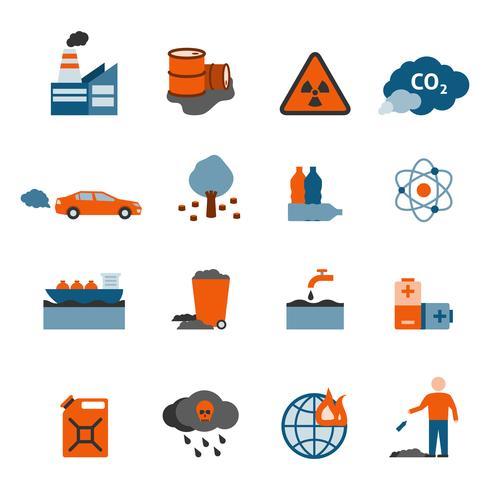 Set di icone di inquinamento