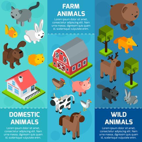 Banner isométrico de animales