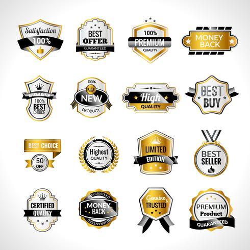 Etichette di lusso in oro e nero
