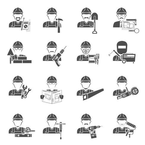 Conjunto de iconos de trabajador negro vector