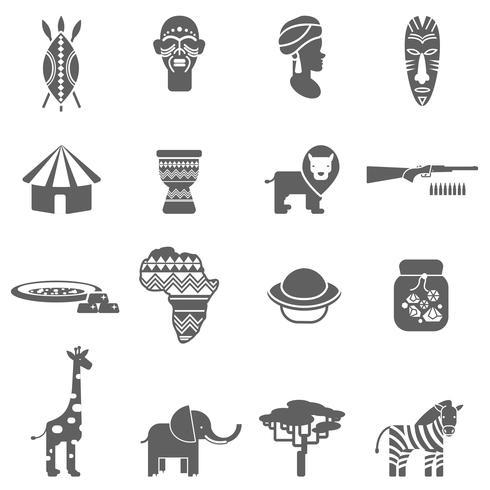 Ensemble d'icônes de culture africaine noir