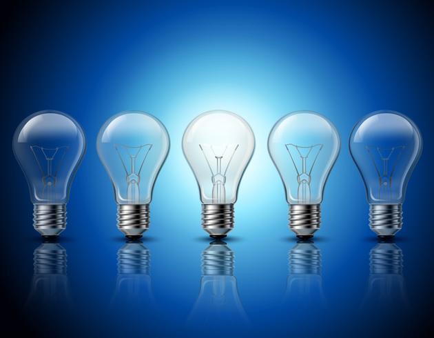 Bombillas de luz establecer idea concepto banner vector