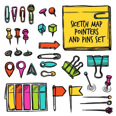 Mapa de punteros y pines boceto vector
