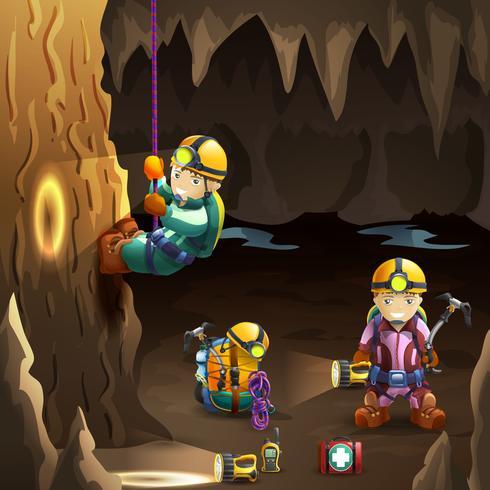 Espeleólogos em cartaz de fundo 3d da caverna