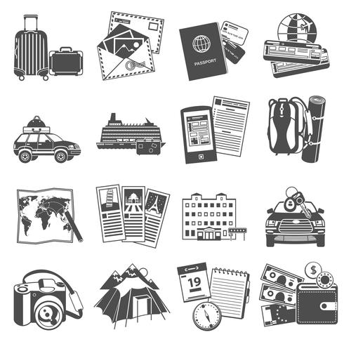 Vacation travel icons set black vector