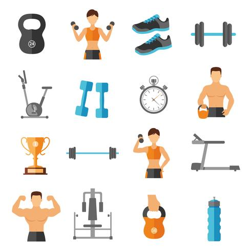 Fitness Flat Style Icons Set vector