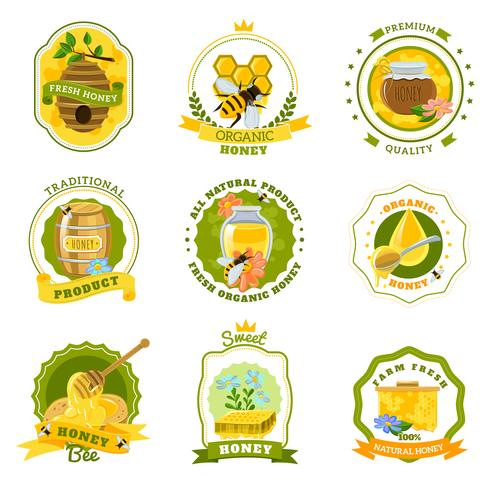 Conjunto de emblemas de miel