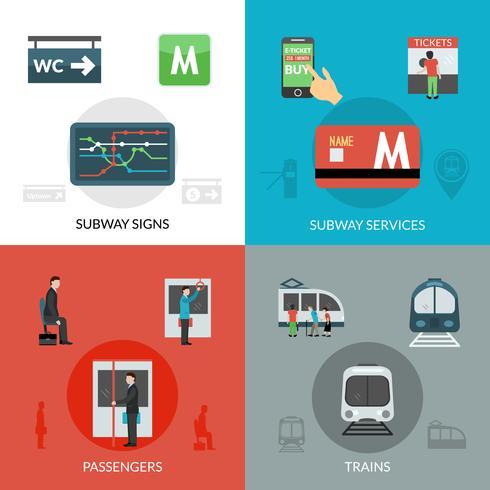 Conjunto de iconos de metro