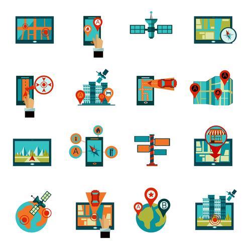 Gps Navigation Icons Set vector
