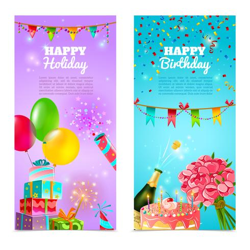 Jeu de bannières joyeux anniversaire vacances celebration