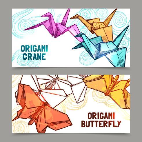 Origami fjärilar och kranar banderoller uppsättning