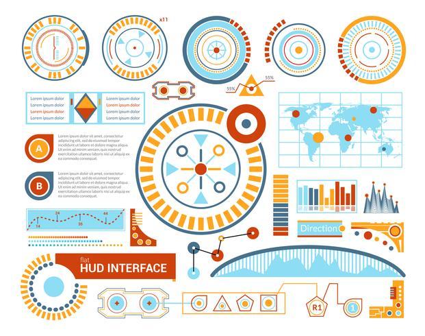 Hud ilustração plana de interface
