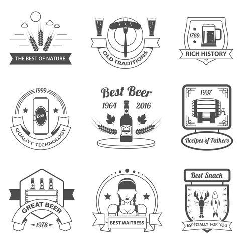 Set di etichette di birra vettore