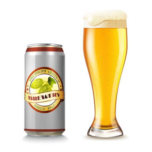 Verre à bière et peut