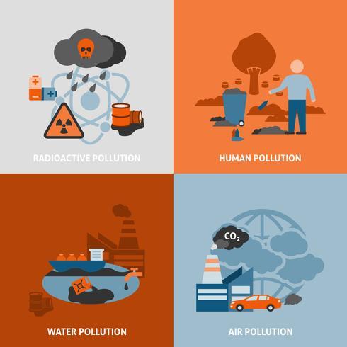 Conjunto de iconos de problemas ambientales