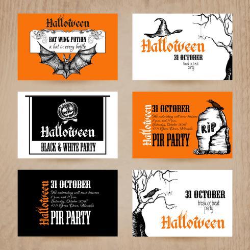 Conjunto de tarjetas de halloween vector