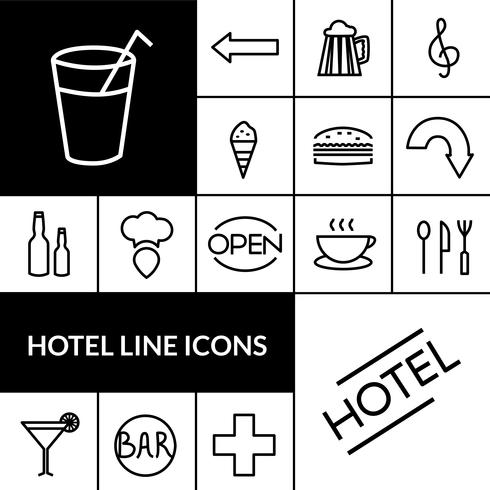 Hôtel noir blanc Icons Set