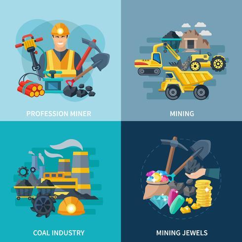 Mijnbouw Icons Flat Set vector